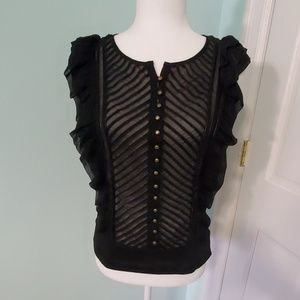 Rampage Black Sleeveless Ruffled Blouse